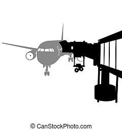 chorro, atracó, ilustración, vector, aeropuerto., avión