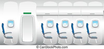 chorro, -, ilustración, avión, asientos, interior