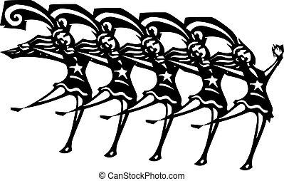 Chorus Line - Woodcut style image of women in a Vegas style...