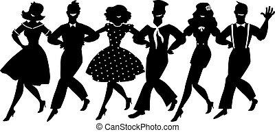Chorus lne clip-art - A chorus line of male and female...