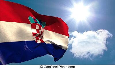 chorwacja, krajowy, falując banderę