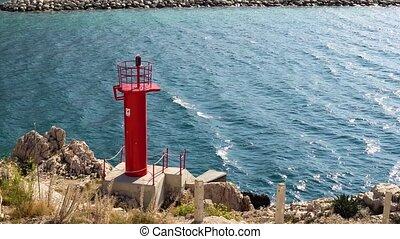 chorwacja, latarnia morska, makarska, port, czerwony