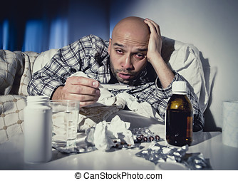 chory człowiek, cyganiąc w łóżku, cierpienie, przeziębienie,...