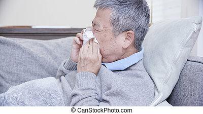 chory człowiek, kichnięcie, starszy, asian