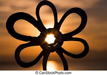 chose, étoile, coucher soleil, milieu