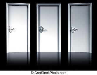 Chose carefully - Illustration of three doorways...