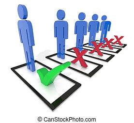chosen check mark - One person chosen with a check mark...
