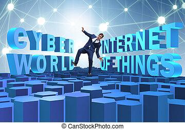 choses, concept, homme affaires, internet