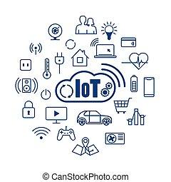 choses, concept, nuage, iot, internet
