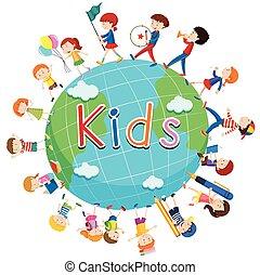 choses, enfants, autour de, mondiale