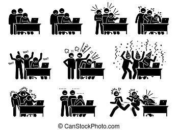choses, groupe, vers, internet., ils, réactions, voir, lire, nouvelles, ligne, amis