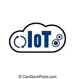 choses, icône, iot, nuage, internet
