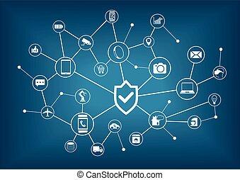 choses, sécurité, concept, internet