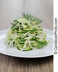 chou, concombre, salade