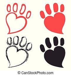 chouchou, cœurs, conception, patte