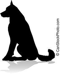 chouchou, chien, animal, silhouette