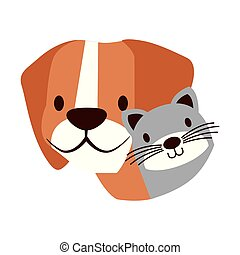 chouchou, chien blanc, fond, chat