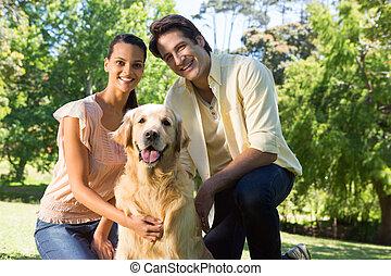 chouchou, couple, parc, chien, leur, heureux