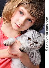chouchou, enfant, elle, chat