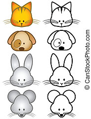 chouchou, ensemble, illustration, animals.