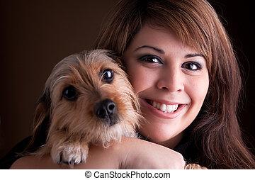 chouchou, femme, chien, elle