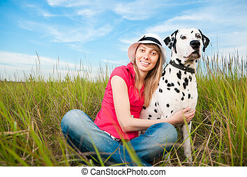 chouchou, femme, jeune, elle, chien