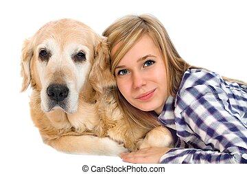 chouchou, girl, woth, chien