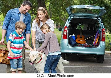 chouchou, gosses, pique-nique, chien, famille