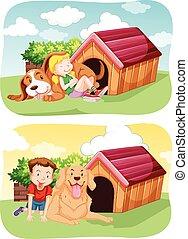 chouchou, leur, gosses, jardin, chien