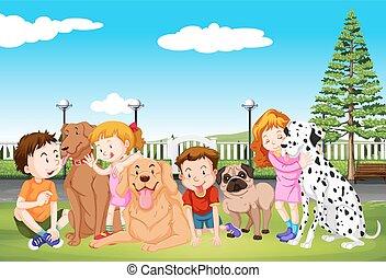 chouchou, leur, gosses, parc, chiens