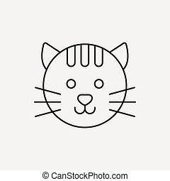 chouchou, ligne, chat, icône