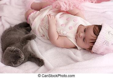chouchou, mignon, girl, bébé, chat