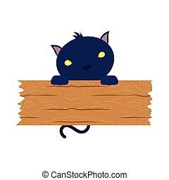chouchou, planche, bois, halloween, chat noir