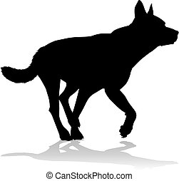 chouchou, silhouette, chien, animal