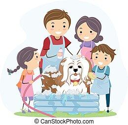 chouchou, stickman, famille, bain