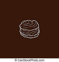 choux pastry cream puff food theme vector art illustration