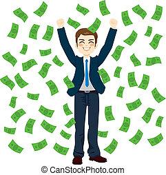 chovendo dinheiro, homem negócios