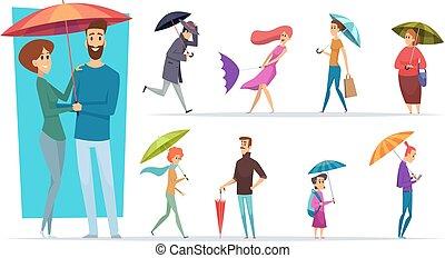 chovendo, mãos, macho, femininas, caráteres, pessoas, guarda-chuva, dia, segurando, vetorial, adultos, umbrella., andar