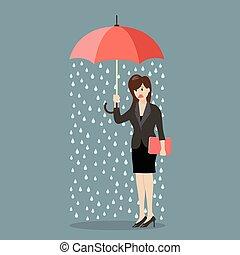chovendo, mulher, guarda-chuva, negócio, sendo, ela, ...