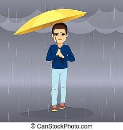 chovendo, triste, homem
