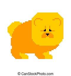 Chow Chow Pixel art. Dog 8 bit. Vector illustration