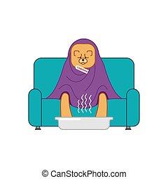 Chow Chow sick sitting in armchair. Dog illness sneezing. Unhappy pet having flu sitting on sofa. Vector illustration