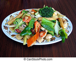 Chow mein - Generious portion of chow mein served on a plate
