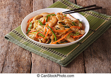 Chow mein with chicken and vegetables, horizontal