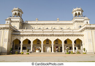 Southern facade at the historic Chowmahalla Palace in Hyderabad, India. Built hundreds of years ago for the ruling Nizams.