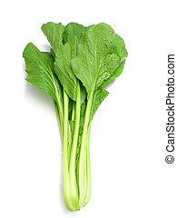 choy sum vegetable pile close up on white background