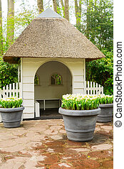 choza, en, keukenhof, jardín