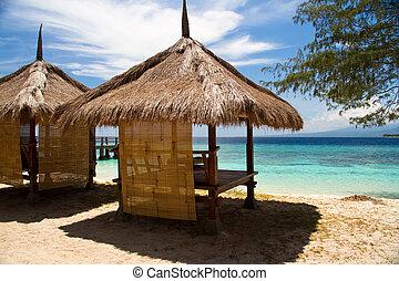 choza, turquesa, playa, mar