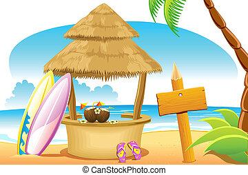 choza, y, tablero que practica surf, en, playa