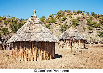 chozas, africano, namibia, tradicional